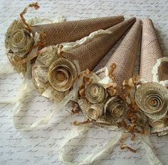 Burlap Paper Cones - hmmm, wonder if these  could work for bridesmaids bouquets?