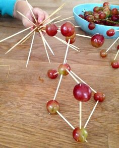 Grapes + Toothpicks=Play with your food! My kids have a thing for anything that looks like DNA or molecules, so this would be fun :)