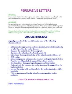 Persuasive Letter Sample In The Space Below picture