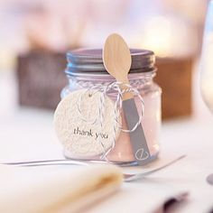 One of my favorite things from our summer wedding - favor jars filled with pink lemonade mix! ---