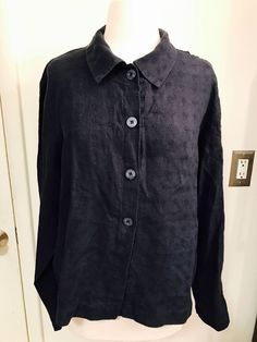 EILEEN FISHER Size Large Navy Blue 100% linen Boxy Shirt Jacket #EileenFisher #ButtonDownShirt
