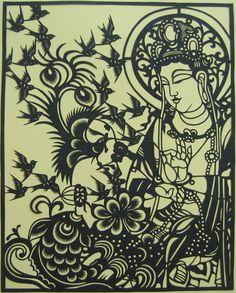 Guan Yin papercut Book Art, Buddhist Shrine, Ganesha, Chinese Paper Cutting, Traditional Japanese Art, Paper Artwork, Guanyin, Origami, Painted Paper
