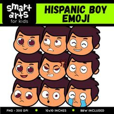 "Hispanic Boy Emoji Clip Art Check out the BUDGET BUNDLE of this Emoji Clip Arts - Bundle Clip art Link Included in this Product: • 9 Full Colored items • 9 Black and white items • 18 pieces clip art in total • Each clip art saved separately in 1,""x1,"" 3,, dpi PNG files, transparent background *Colors might be slightly different due to different screen color..."