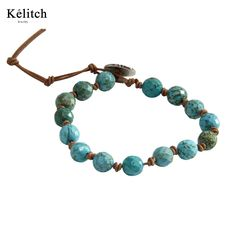 Kelitch Good Quality 1Pcs 8mm Turquoise Beaded Bracelets Handmade Leather Chain Classic Jewelry AZ1W-15019