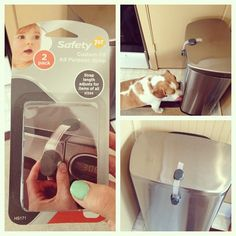 Doggy proofing your trash can with baby safety strap!