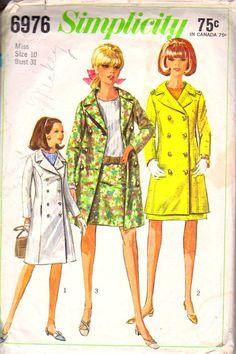 1967 Coat Mini Skirt Pattern Size 10 Simplicity by retromonkeys, $10.00