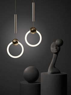 Lamps and Lighting – Home Decor : Ring Light By Lee Broom – A polished brass sphere, pierced by a dimmable circular fluorescent tube to form Ring Light, a pendant of simplicity and elegance. Closet Lighting, Interior Lighting, Modern Lighting, Lighting Design, Deco Luminaire, Luminaire Design, Light Luz, Lamp Light, Home Design Diy