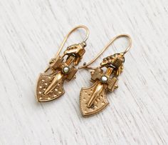 Antique Gold Filled Seed Pearl Earrings - Rare Victorian Pierced Dangle Drop Etruscan Revival Jewelry / Ornate Shield Drops