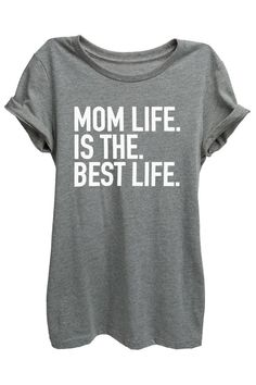 """Motherhood is Bliss! """"Mom Life is the Best Life"""" is featured on a crew neck, short sleeves and a new modern, relaxed fit for effortless style. Printed on quality constructed tri-blend material, these"""