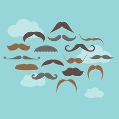 Mustaches in the Sky 12x12 poster by Marina Design