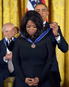 November 20, 2013: President Barack Obama presents Oprah with the Presidential Medal of Freedom during a ceremony in the East Room of the White House in Washington. The medal is the country's foremost civilian honor.