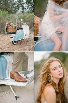 Bring the whimsy...  Styled by Rani Hoover, Weddings & Events, vespa-Archive Vintage Rentals, florals by Kristajon, dress by JLM Couture, photos by Elizabeth Messina, location Bacara Resort & Spa.