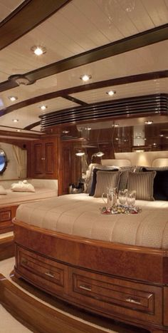 This bedroom is on a Luxury Private Yacht | Via ♔LadyLuxury♔