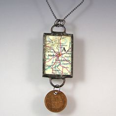 Madrid Spain Map and Coin Pendant Necklace by XOHandworks