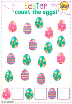 Easter themed Preschool Printables - Free worksheets, number puzzles - tracing letters, counting numbers and other activities - fun learning by BonTon TV Preschool Printables, Preschool Worksheets, Preschool Learning, Kids Learning, Free Worksheets, Teaching, Learning Numbers, Learning Letters, Easter Activities