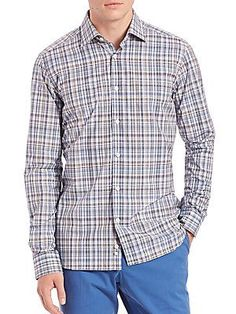 Saks Fifth Avenue Plaid Cotton Sportshirt - Purple - Size