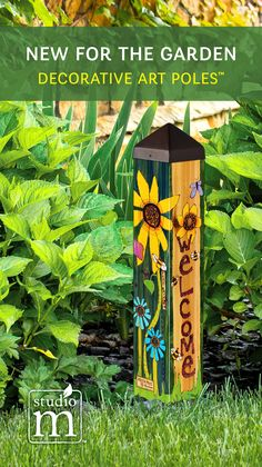 A Studio M exclusive, Art Poles™ are an impactful way to bring beautiful artwork to any landscape. Ultra-durable for years of enjoyment. No digging required. All hardware included. Proudly made in the USA. Garden Crafts, Garden Projects, Peace Pole, Garden Poles, Pole Art, Florida Gardening, Garden Whimsy, Mosaic Garden, Glass Garden