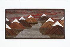 "Wood wall art of a Fiery Sunset Mountain landscape 60""L x 30""H by CarpenterCraig on Etsy https://www.etsy.com/listing/261989975/wood-wall-art-of-a-fiery-sunset-mountain"