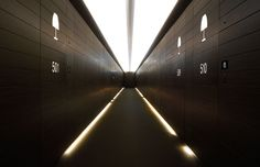 The corridor to the rooms - sleek and stylish yet decidedly functional  at the world's first Armani Hotel