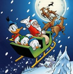 "Vintage Santa, Donald Duck,and Nephews Disney Christmas Card with ""Donald Duck"", Huey,Dewey, and Louie ."