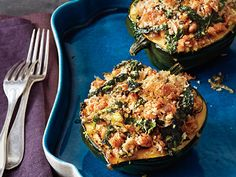 Recipe: Acorn Squash with Kale and Sausage ... A recipe that presents so well for company. It is easy to do but just don't forget them under the broiler like I did!
