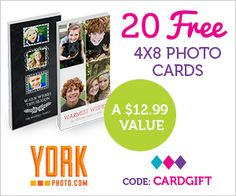 Thinking ahead to Christmas photo cards? Here's a deal for you! York Photois offering20 4×8 Custom Photo Cardsfor just the price of shipping to new customers when you use the coupon code CARDGIFTat checkout!