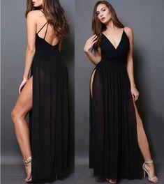 231db41967b6 ABITO VESTITO LUNGO DONNA Sera Elegante Sexy Shiena Nuda Damigella Spacco  Velato