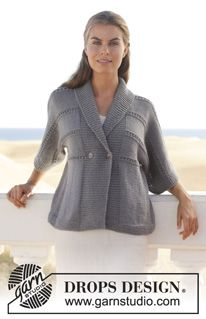 """Strikket DROPS jakke i """"Lima"""" med hullmønster og sjalskrage. Str S - XXXL. ~ DROPS Design"""