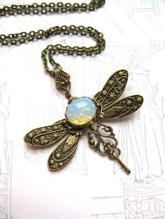 moonstone dragonfly steampunk necklace