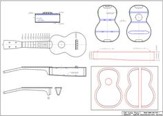 <strong>CAD Plan</strong> for Soprano Ukulele Martin Style, early style 1 ukulele. Includes DWG and DXF files.