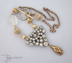 LAYAWAY PAYMENT 2 of 3 for Jane - Repurposed Necklace Mixed Metal Rhinestone Necklace, Repurposed Victorian Pendant Necklace JryenDesigns