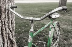 Top Handle Bars Of A Green Vintage Retro Bicycle by RedHedgePhotos, $9.99 #etsy #etsyshop #handmade #photography #art #etsyseller