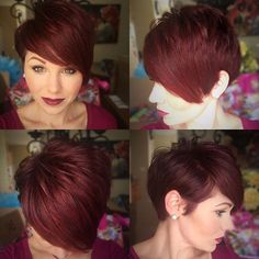 Stylish Hairstyle Color for Short Hair - Pixie Haircut 2016 Short Red Hair, Short Hair Cuts, Short Hair Styles, Pixie Cuts, Pixie Hairstyles, Pretty Hairstyles, Pixie Updo, Haircut And Color, Red Pixie Haircut
