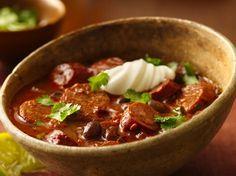 Hot and Spicy Chorizo Chili - Smoked chorizo sausage turns up the heat in a chili.