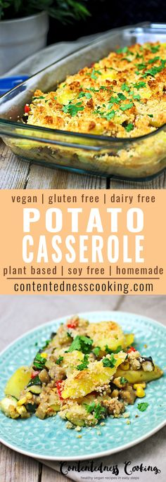 My Vegan Potato Casserole recipe brings a fresh vegan twist to a classic. It is a full fresh vegetable bake on its own and comes with a savory oil-free sauce that is easy to make. A real highlight of the Vegan Potato Casserole is the Crunch on top of it, made from macadamias and gluten free breadcrumbs.