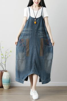 Ylingjun Womens Loose Plus Size Bib Denim Overalls Rompers Jumpsuit