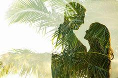 Double exposure palm trees