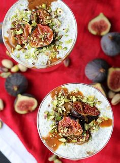 This Vegan Roasted Fig Chia Pudding and Tahini Date Caramel Parfait is a gluten free plant based perfect light dessert packed with Middle-Eastern inspired flavour and a delicious date caramel scented with tahini. Healthy Vegan Desserts, Gluten Free Desserts, Healthier Desserts, Vegan Food, Roasted Figs, Vegan Recepies, Vegan Roast, Light Desserts