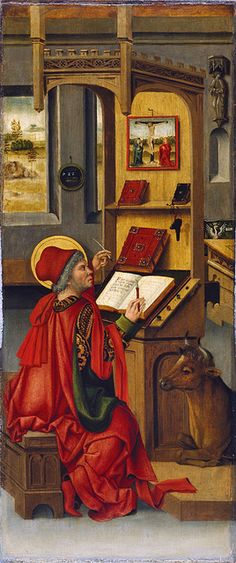 St. Luke. Panel in the Altar of the Four Evangelists by Gabriel Mälesskircher, c. 1478 (Munich; altar originally in the Benedictine monastery of Saint Quirinus, Tegernsee). Now in the Museo Thyssen-Bornemisza, Madrid. Note the mirror, which reflects space outside the picture.