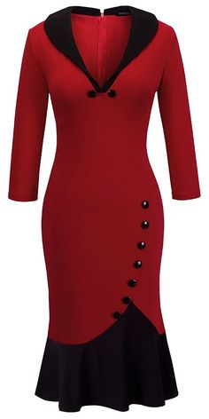 Women's V Neck Ball Fishtail Pencil Dress UB27 - Red - CZ11YRO6PDN,Women's Clothing, Suiting & Blazers, Separates, Dresses  #women #fashion #clothing #style #sexy #outfits #Dresses