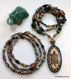 EarthStones Pond Symphony Turtle Totem Agate by KarmaBeadsByKaren, $69.00