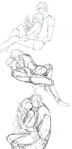 Cuddling/sleeping fiolee sketches Figure Drawing Reference, Pose Reference, Drawing Base, Manga Drawing, Character Poses, Character Design, Couple Drawings, Art Drawings, Otaku