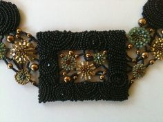 Necklace:  Framed Panel, Seed Bead Embroidered & Bead Woven Floral Black, Gold, Turquoise, Hand Made, OOAK on Etsy, $3,146.07 AUD