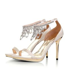 party shoes | Champagne Rhinestone High Heel Dancing Party Shoes S647-18