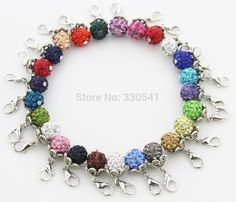 125pcs Mixed Color 10mm Lobster Clasp Rhinestone Pendant On AB Pave Beads Floating Dangle Charm