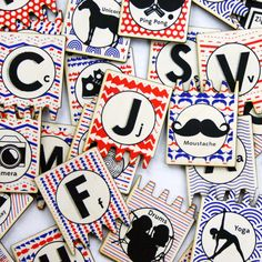 Hipster ABC matching tiles set for kids, with worlds like Moustache, Unicorn, and Ping Pong