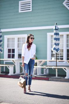 White silk shirt, straight leg jeans, and Silk Scarf