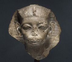 Head of a King, possibly Amememhat IV Period: Middle Kingdom Dynasty: Dynasty 12 (?) Reign: possibly reign of Amenemhat IV Date: ca. 1814–1805 B.C. suggested Geography: From Egypt, Memphite Region, Lisht North, Pyramid Temple of Amenemhat I, east, Pit 412, debris above burial chamber, MMA 1907–1908 Medium: Limestone Dimensions: h. 14 cm (5 1/2 in) Credit Line: Rogers Fund, 1908 Accession Number: 08.200.2