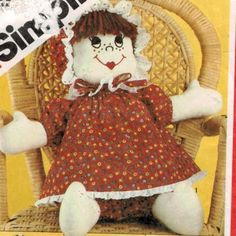 rag doll faces images | Simplicity 5682 Rag Doll with embroidered faces 17″ high | Sewing ...