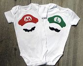 mario and luigi. These are cute if any of my friends and I give birth close to one another.